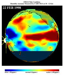 This image shows differences in atmospheric water vapor relative to a normal (average) year in the Earth's upper troposphere about 10 kilometers (6 miles) above the surface.