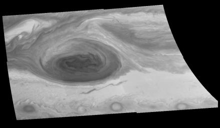 This mosaic of the Great Red Spot on Jupiter from NASA's Galileo orbiter was taken over a 75 second interval beginning at universal time 4 hours, 18 minutes, 8 seconds on June 26, 1996.