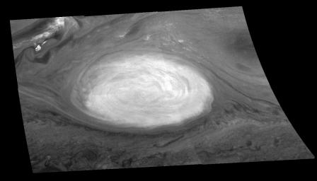 The mosaic of the Great Red Spot on Jupiter from NASA's Galileo orbiter was taken over a 76 second interval beginning at universal time 14 hours, 33 minutes, 22 seconds, on June 26, 1996.