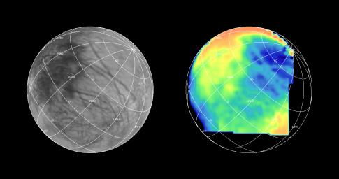 NASA's Galileo spacecraft imaged most of Europa, including the north polar regions, at high spectral resolution during the G1 encounter on June 28, 1996.