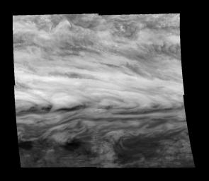 Mosaic of a belt-zone boundary near Jupiter's equator as seen by NASA's Galileo orbiter in 1996.