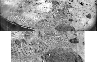 This pair of images from NASA's Imager for Mars Pathfinder (IMP) shows a broad view (upper image) and detailed close-up view (lower image) of the disturbed surface near and on Mermaid Dune. Sol 1 began on July 4, 1997.