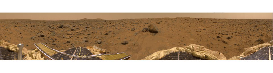 This is a 'geometrically improved' version of the 360-degree panorama heretofore known as the 'Gallery Pan,' taken by NASA's Imager for Mars Pathfinder (IMP) over the course of Sols 8, 9, and 10. Sol 1 began on July 4, 1997.