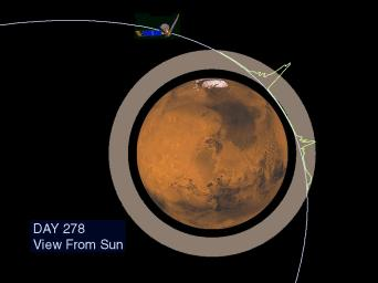 The Martian ionosphere is seen in this image from NASA's Mars Global Surveyor.