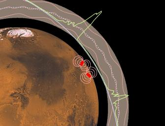 Magnetic anomalies on Mars are seen in this image from NASA's Mars Global Surveyor.