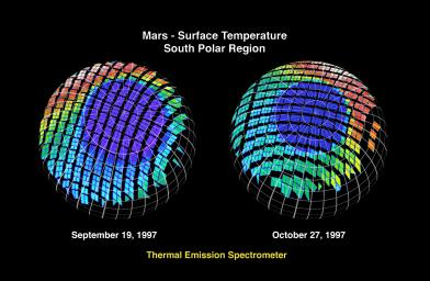 Mars - Surface Temperature South Polar Region