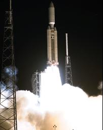 A seven-year journey to the ringed planet Saturn begins with the liftoff of a Titan IVB/Centaur carrying NASA's Cassini orbiter and its attached Huygens probe.