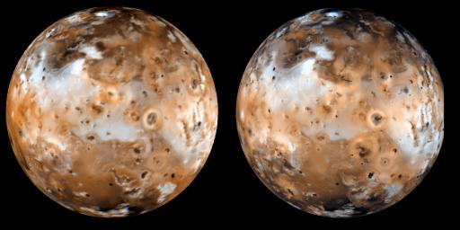 Shown here is a comparison of NASA's Galileo color image (right, taken Sept. 7, 1996) of Jupiter's moon Io, with NASA's Voyager mosaic (left, taken in 1979) reprojected to the same geometry as the Galileo image.