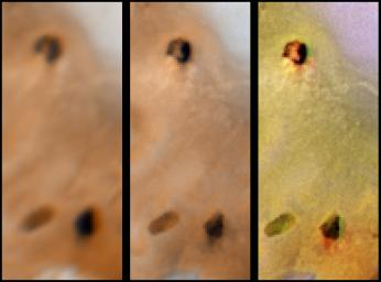 Lack of Visible Change Around Active Hotspots on Io