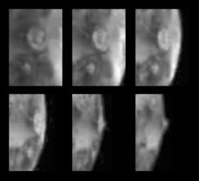 Six views of the volcanic plume named Prometheus, as seen against Io's disk and near the bright limb (edge) of the satellite by NASA's Galileo spacecraft during its second (G2) orbit of Jupiter.