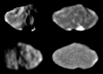 These four images of Jupiter's moon, Amalthea, were taken by NASA's Galileo's solid state imaging system at various times between February and June 1997.
