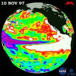 This image of the Pacific Ocean was produced using sea surface height measurements taken by the U.S./French TOPEX/Poseidon satellite. The image shows sea surface height relative to normal ocean conditions on Nov. 10, 1997.