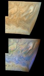 True and false color mosaics of the turbulent region west of Jupiter's Great Red Spot. The Great Red Spot is on the planetary limb on right hand side of each mosaic. Images used were taken by the Solid State Imaging system on NASA's Galileo spacecraft.