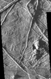 This image of Europa was taken by NASA's Galileo spacecraft under 'low-sun' illumination--the equivalent of taking a picture from a high altitude at sunrise or sunset. Note that in this image the topography of the terrain is emphasized.
