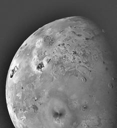 Shown here is one of the topographic mapping images of Jupiter's moon Io (Latitude: -40 to +90 degrees, Longitude: 210-320 degrees) acquired by NASA's Galileo spacecraft, revealing a great variety of landforms.