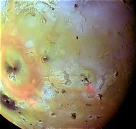 The varied effects of Ionian volcanism can be seen in this false color infrared composite image of Io's trailing hemisphere. Color data from Galileo's first orbit have been combined with a higher resolution clear filter picture taken on the third orbit.