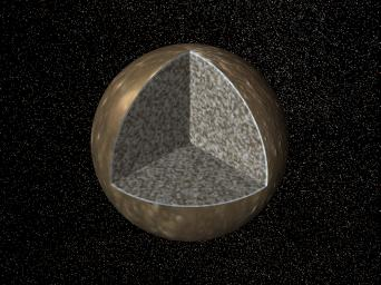 Cutaway view of the possible internal structure of Callisto. The surface of the satellite is a mosaic of images obtained in 1979 by NASA's Voyager spacecraft.