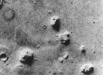 NASA's Viking 1 Orbiter spacecraft photographed this region in the northern latitudes of Mars on July 25, 1976 while searching for a landing site for the Viking 2 Lander.