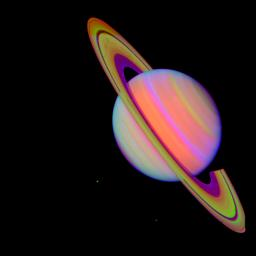 Saturn With Rhea and Dione (false color)