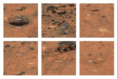 These images from NASA's Mars Pathfinder in 1997 show different type areas of rocks and soils on Mars; dark rock type and bright soil type. Seen here is the dark rock Barnacle Bill.