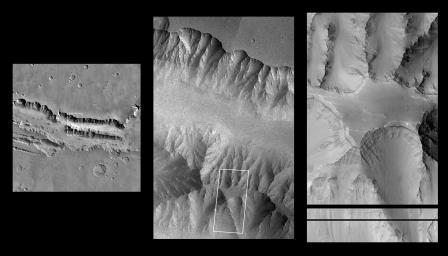 NASA's Mars Global Surveyor acquired these images of the Martian surface in the early evening of January 1, 1998. At left, a plateau and surrounding steep slopes within the Valles Marineris.