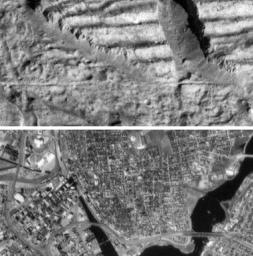 Very High Resolution Image of Icy Cliffs on Europa and Similar Scales on Earth (Providence, RI)