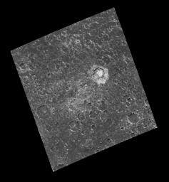 Craters ranging in diameter from the limit of resolution, approximately 1.35 kilometers, up to the remnants of a heavily degraded two-ringed basin, approximately 90 kilometers in diameter, can be seen in this image captured by NASA's Galileo spacecraft.