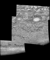 Mosaic of Jupiter's southern hemisphere between -25 and -80 degrees (south) latitude. These images were taken on May 7, 1997, at a range of 1.5 million kilometers by the Solid State Imaging system on NASA's Galileo spacecraft.