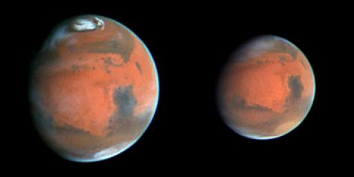 Hubble Watches the Red Planet as Mars Global Surveyor Begins Aerobraking