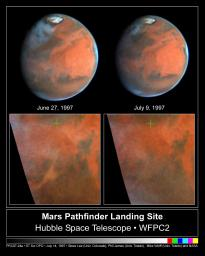 NASA's Hubble Space Telescope images near Ares Vallis, Mars, taken on June 27, 1997 (left) and July 9, 1997 (right), document the dissipation of a large dust storm during the 12 days separating the two observations.