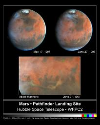 Hubble's Look at Mars Shows Canyon Dust Storm, Cloudy Conditions for Pathfinder Landing