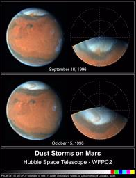 Springtime Dust Storm Swirls at Martian North Pole
