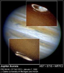 NASA's Hubble Space Telescope has captured a complete view of Jupiter's northern and southern auroras. Images taken in ultraviolet light by the Space Telescope Imaging Spectrograph (STIS) show both auroras, the oval-shaped objects in the inset photos.