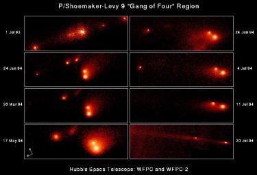 This series of eight NASA Hubble Space Telescope 'snapshots' shows the evolution of the P-Q complex, also called the 'gang of four' region, of comet P/Shoemaker-Levy 9.