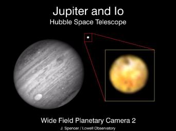 This picture is a composite of a black and white near infrared image of Jupiter and its satellite Io and a color image of Io at shorter wavelengths taken at almost the same time on March 5, 1994 by NASA's Hubble Space Telescope.