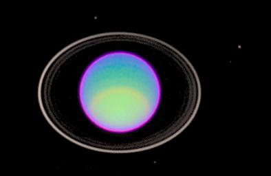 NASA's Hubble Space Telescope peered deep into Uranus' atmosphere to see clear and hazy layers created by a mixture of gases. Using infrared filters, Hubble captured detailed features of three layers of Uranus' atmosphere.