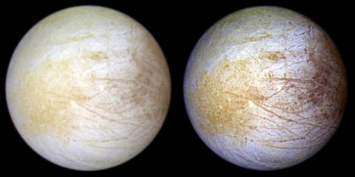 This color composite view combines violet, green, and infrared images of Jupiter's intriguing moon, Europa, for a view of the moon in natural color (left) and in enhanced color designed to bring out subtle color differences in the surface (right).