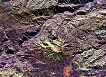 This radar image of the area surrounding the Galeras volcano in southern Colombia shows the ability of a multi-frequency radar to map volcanic structures that can be dangerous to study on the ground.