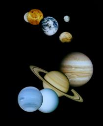 This is an updated montage of planetary images taken by spacecraft managed by NASA�s Jet Propulsion Laboratory in Pasadena, CA. Included are (from top to bottom) images of Mercury, Venus, Earth (and Moon), Mars, Jupiter, Saturn, Uranus and Neptune.