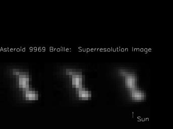 These composite image frames were taken 914 seconds and 932 seconds after the NASA's Deep Space 1's encounter with the asteroid 9969 Braille. The image on the right was created by combining the two images on the left.