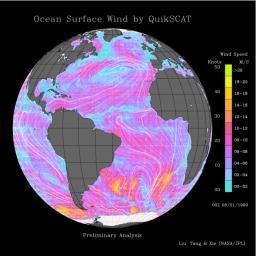 This image shows wind speeds and direction in the Atlantic Ocean on August 1, 1999, gathered by NASA's Seawinds radar instrument flying onboard NASA's QuikScat satellite.