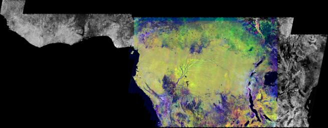 This is an image of equatorial Africa, centered on the equator at longitude 15degrees east. This image is a mosaic of almost 4,000 separate images obtained in 1996 by NASA's L-band imaging radar onboard the Japanese Earth Resources Satellite.