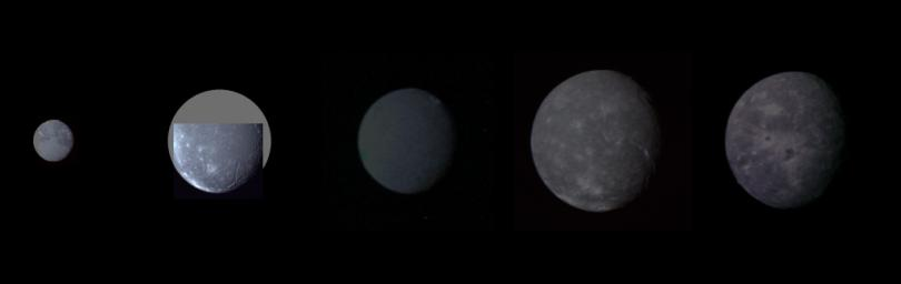Montage of Uranus' five largest satellites taken by NASA's Voyager 2. From to right to left in order of decreasing distance from Uranus are Oberon, Titania, Umbriel, Ariel, and Miranda.