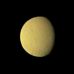 This high-resolution image of Enceladus was made from several images obtained Aug. 25, 1981, by NASA's Voyager 2 from a range of 119,000 kilometers (74,000 miles).