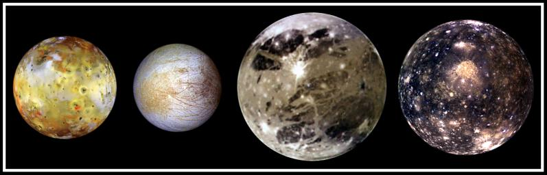 In this family portrait the four largest moons of Jupiter are shown to scale in increasing distance from Jupiter are (left to right) Io, Europa, Ganymede, and Callisto. This image was taken by NASA's Galileo in November, 1997.