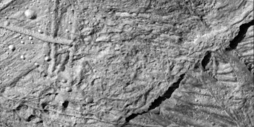 This high resolution view captured by NASA's Galileo spacecraft shows the Conamara Chaos region on Jupiter's icy moon, Europa. This image reveals craters which range in size from about 30 meters to over 450 meters in diameter.