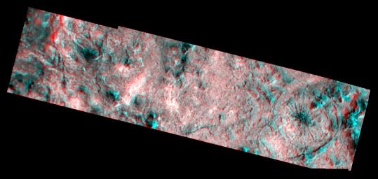 This three dimensional effect is created by superimposing images of Jupiter's icy moon, Europa, taken by NASA's Galileo Orbiter. 3D glasses are necessary to identify surface detail.