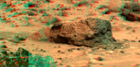 This view of 'Boo Boo' was produced by combining the 'Super Panorama' frames from the IMP camera from NASA's Mars Pathfinder lander. 3D glasses are necessary to identify surface detail.