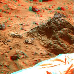 'Mini Matterhorn' is a 3/4 meter rock immediately east-southeast of NASA's Mars Pathfinder lander. 3D glasses are necessary to identify surface detail.