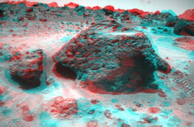 This anaglyph view of 'Souffle,' to the left of 'Yogi,' was produced by NASA's Mars Pathfinder's Imager camera. 3D glasses are necessary to identify surface detail.